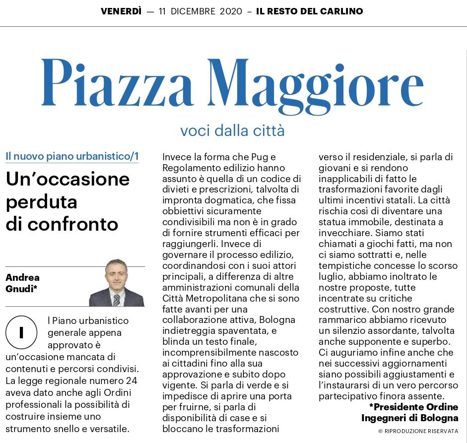 Adozione proposta PUG e Regolamento Edilizio: nessuna risposta dal Comune di Bologna