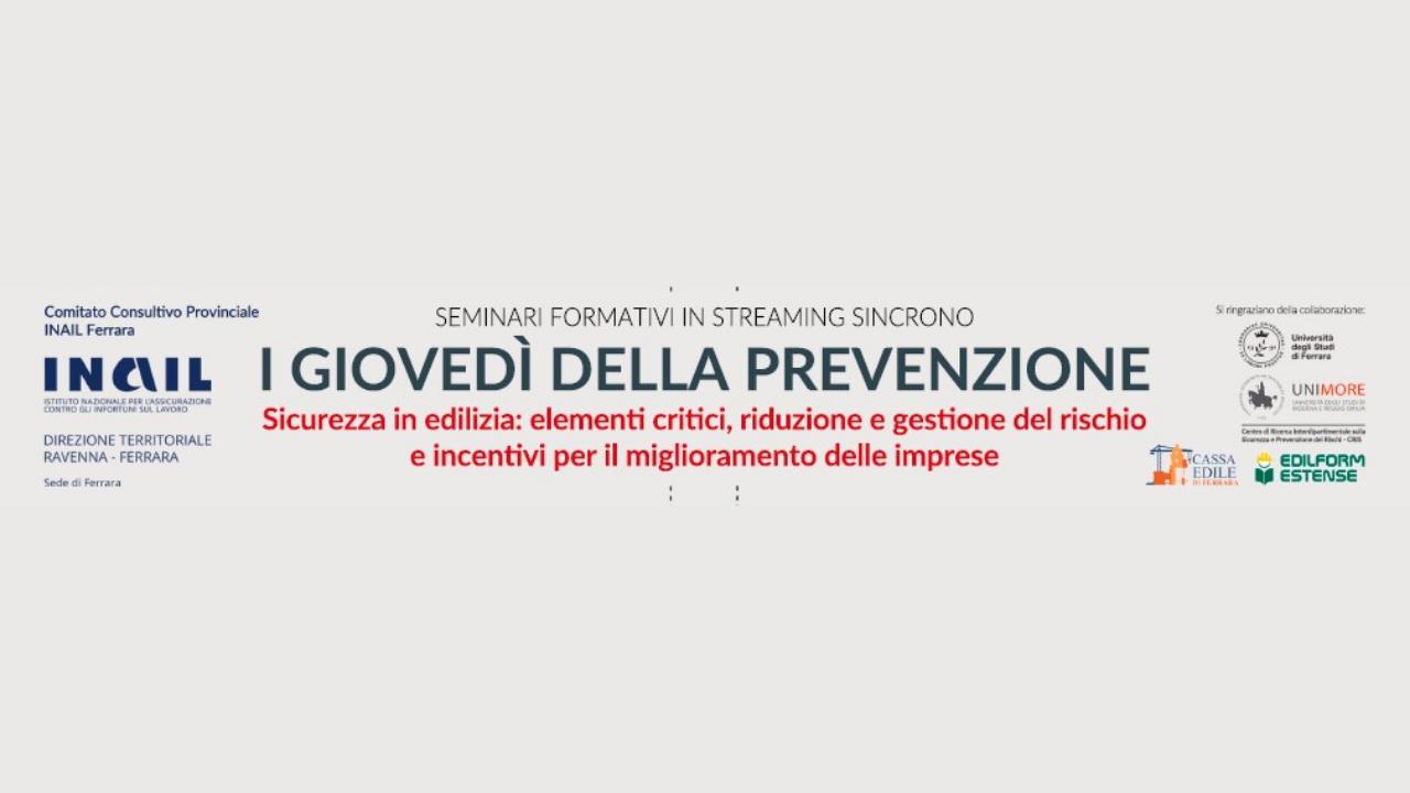I giovedì della prevenzione. Sicurezza in edilizia: un ciclo di seminari in streaming