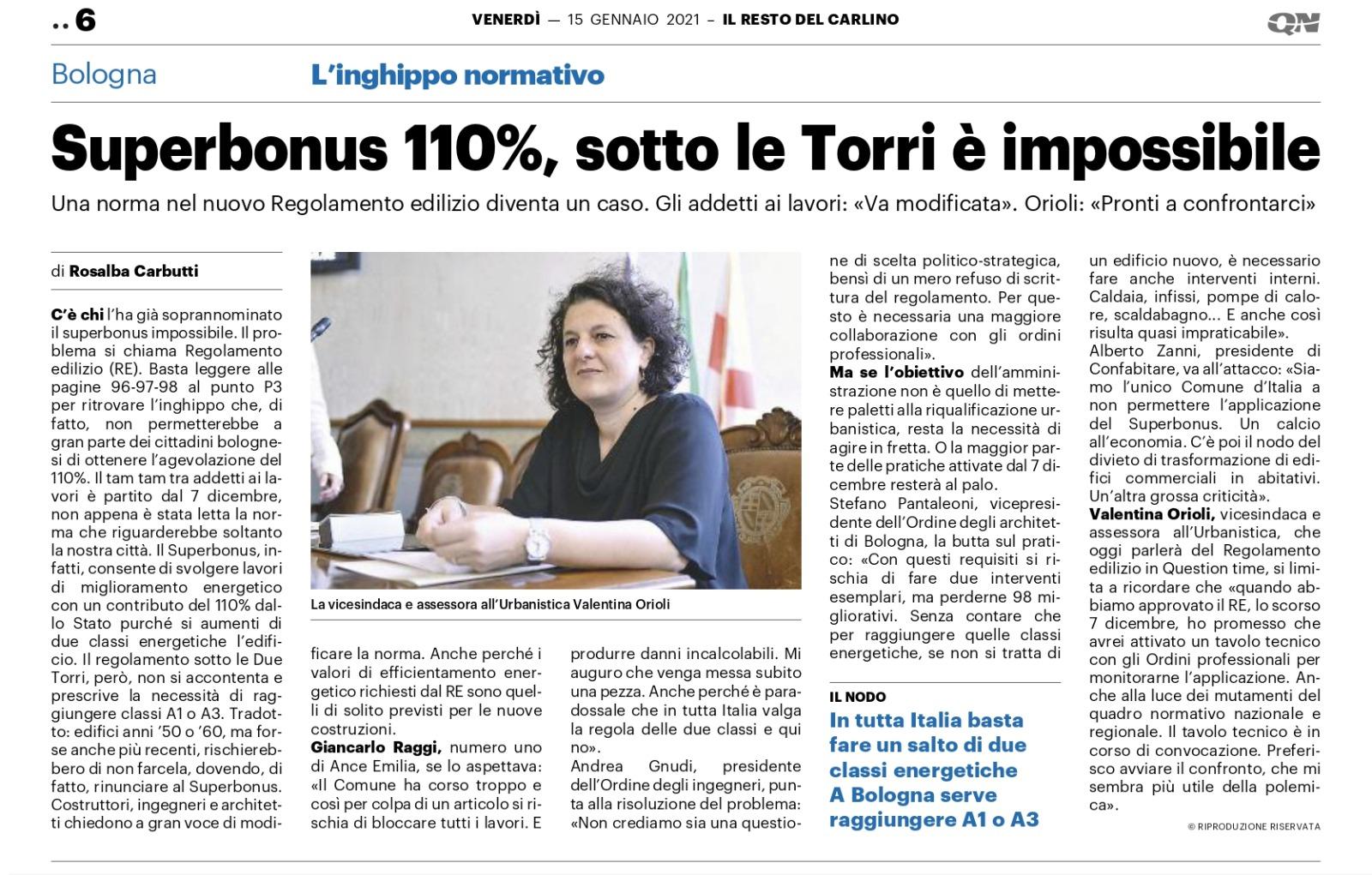 Superbonus 110% a Bologna: informativa agli iscritti