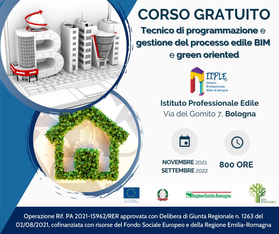 """Corso IFTS """"Tecnico di programmazione e gestione del processo edile BIM e Green Oriented"""""""